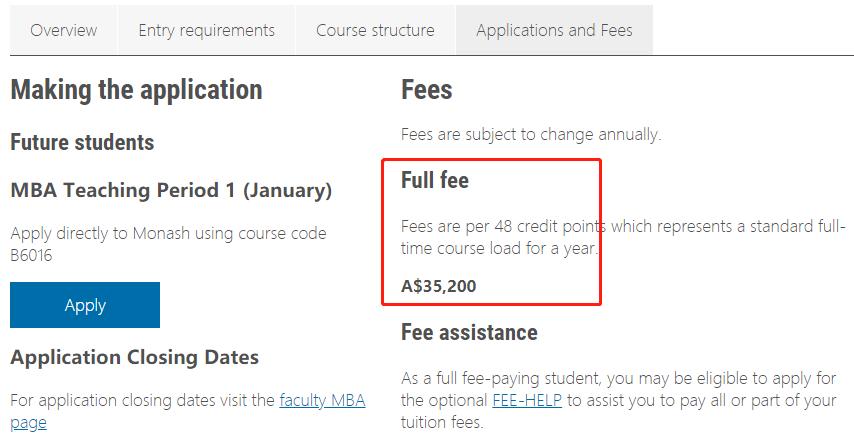 蒙纳士大学MBA学费