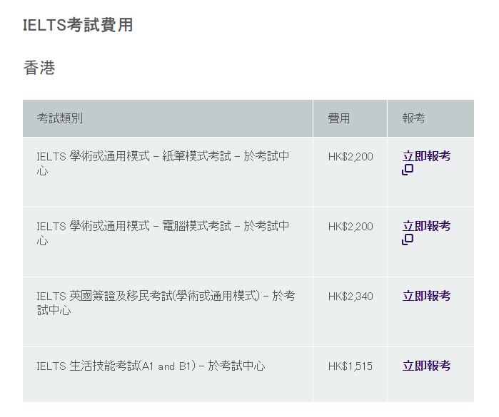 香港雅思报名费用